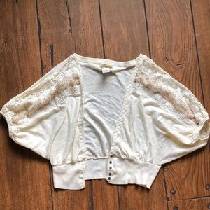 White Lace Batwing Swater | Boho | Crop Top